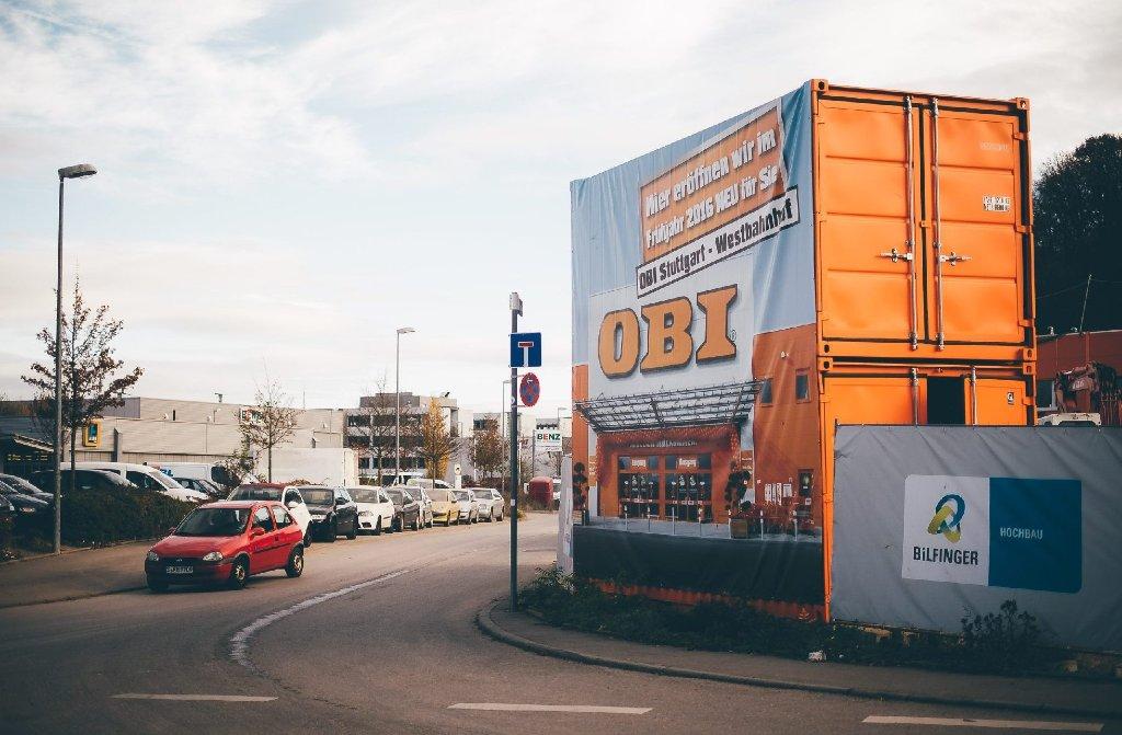 Nein, hier gehts noch nicht in den neuen Obi-Markt am Stuttgarter Westbahnhof. Aber ... Foto: www.7aktuell.de | Florian Gerlach
