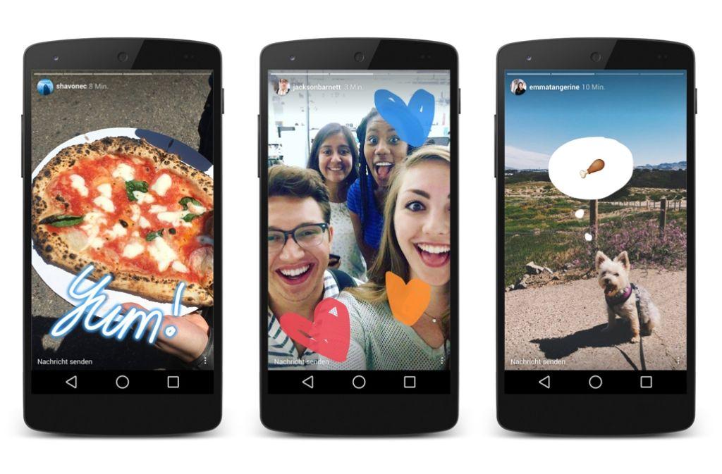 """Das Foto-Netzwerk Instagram hat sein Angebot um die Funktion """"Stories"""" erweitert, die an den Konkurrenten Snapchat erinnert. Foto: Instagram"""