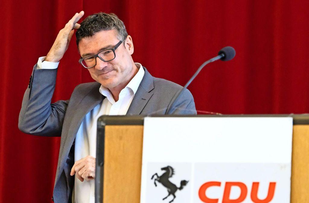 Asche aufs Haupt: Der Stuttgarter CDU-Kreisvorsitzende hat bei der Mitgliederversammlung das schlechte Bundestagwahlergebnis kritisch beleuchtet. Foto: Lichtgut/Michael Latz