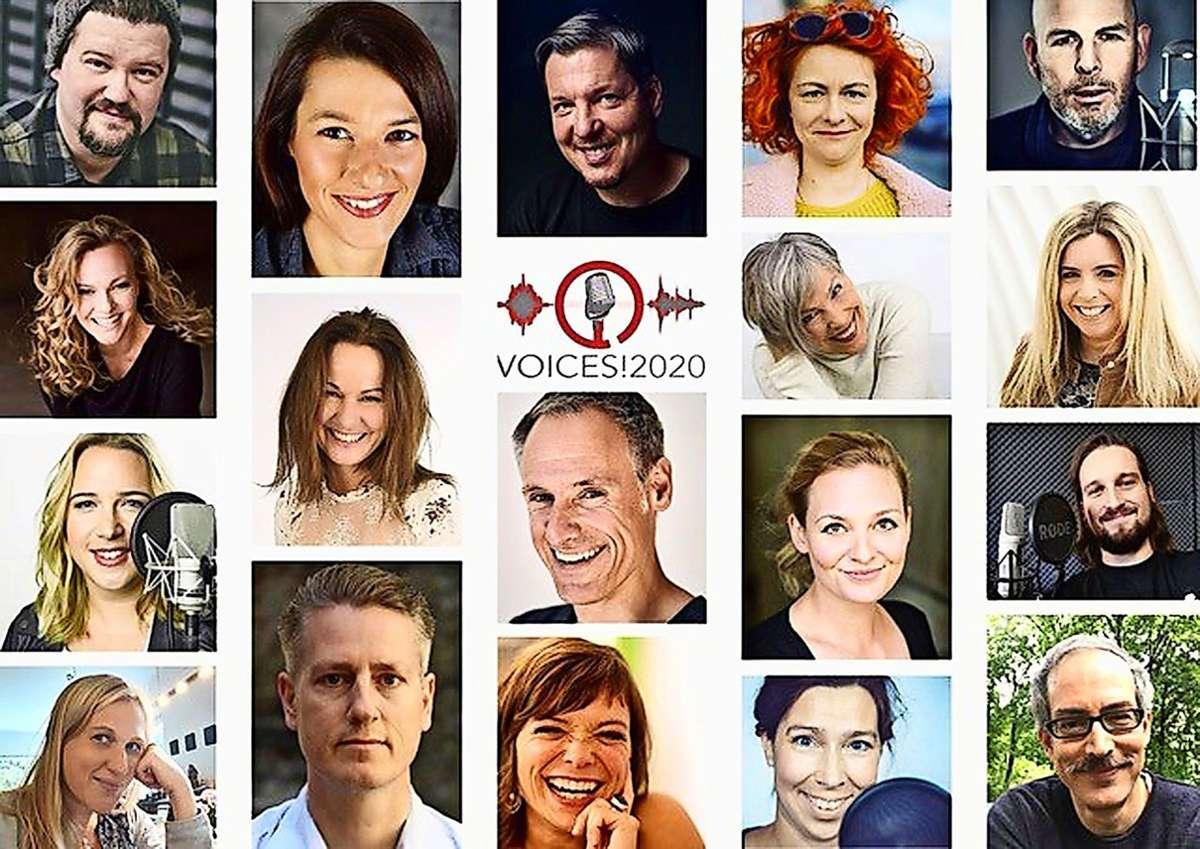 18 Schauspieler und Synchronsprecher beteiligen sich an dem besonderen Adventskalender, den Diana Gantner (linke Reihe, 2. von oben) mitinitiiert hat. Foto: privat