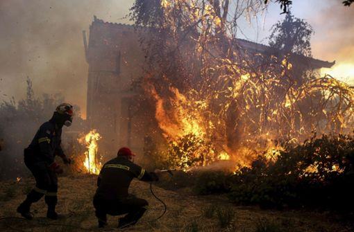 Kampf gegen die Flammen auf griechischer Insel Euböa