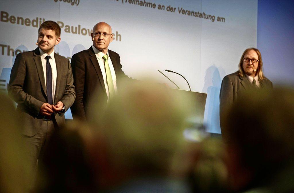 Benedikt Paulowitsch,  Stefan Altenberger und Thomas Hornauer (von links)bei der Kandidatenvorstellung in Kernen Foto: /Gottfried Stoppel