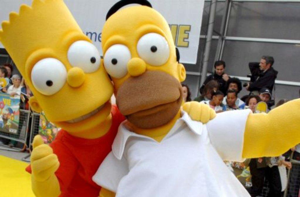 Bart (links) und Homer Simpson versuchen es mit Schwäbisch. Foto: dpa