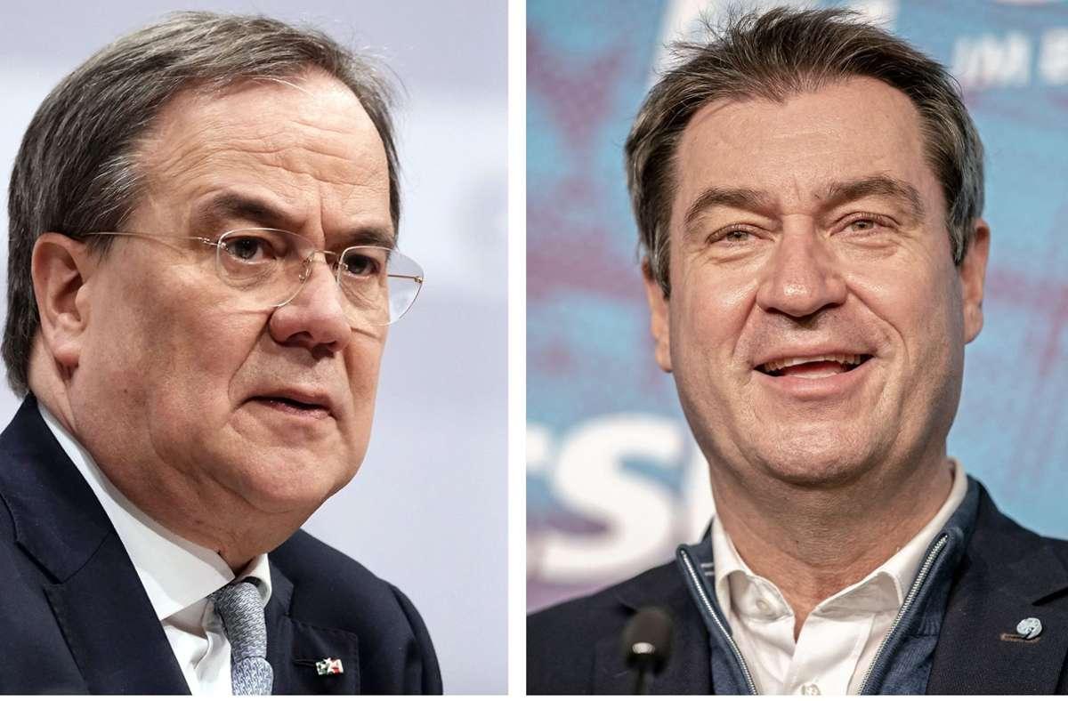 Armin Laschet und Markus Söder sind wohl in konstruktivem Austausch was die K-Frage betrifft – eine Einigung lässt allerdings noch auf sich warten. Foto: dpa/Michael Kappeler