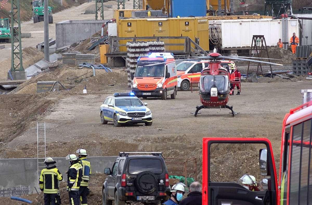 Der Schwerverletzte musste nach der Erstversorgung mit dem Rettungshubschrauber in eine Klinik geflogen werden. Foto: 7aktuell.de/Alexander Hald/7aktuell.de | Alexander Hald