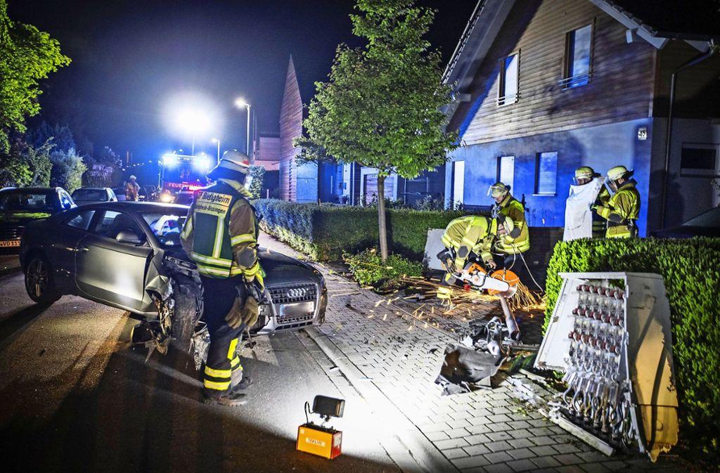 Die Unfallflucht nach diesem Crash in Bietigheim-Bissingen am Wochenende brachte den Verursacher nicht weit. Foto: 7aktuell/Simon Adomat