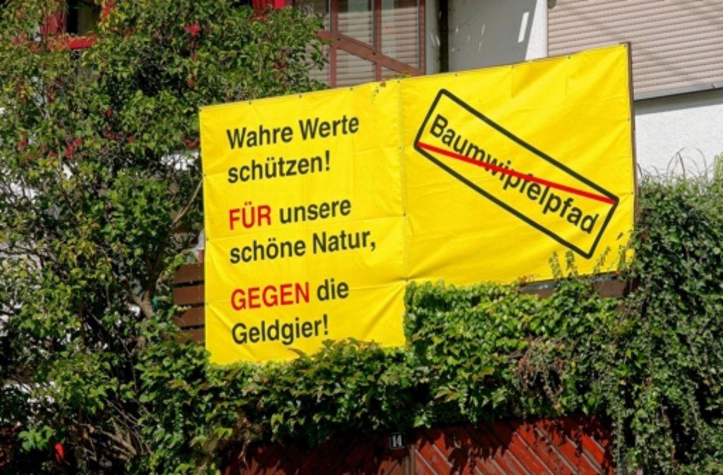 In Wiesensteig ist der Wahlkampf für den Bürgerentscheid angelaufen. Anlehnungen an den Protest gegen Stuttgart 21 sind wohl kein Zufall. Foto: Horst Rudel