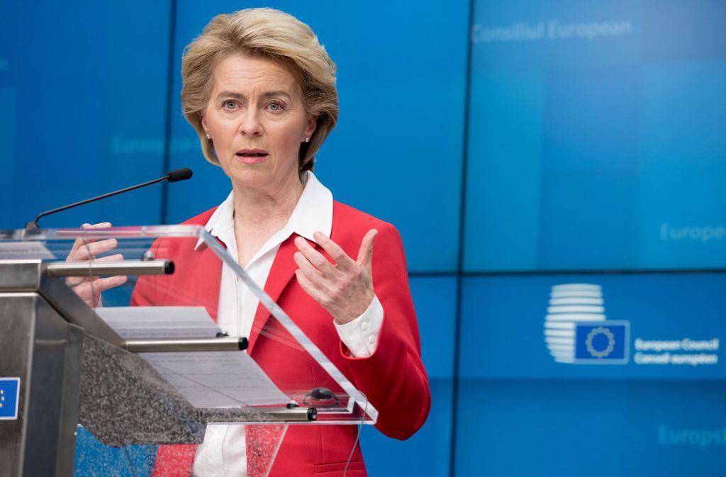 EU-Kommissionspräsidentin Ursula von der Leyen Foto: dpa/Etienne Ansotte