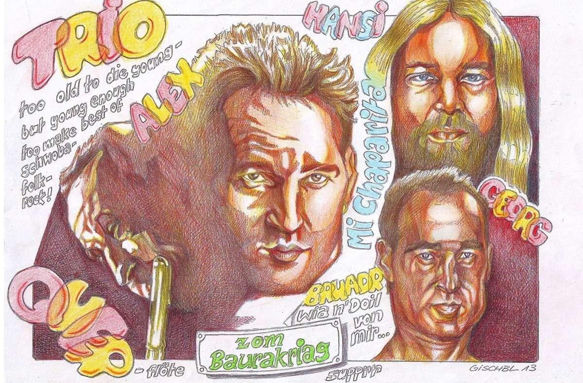 In diesem  Bandporträt spiegelt sich der typische  Gischbl-Zeichenstil. Foto: Gischbl