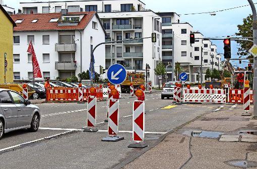 Auf der Vaihinger Straße wird bis Ende August gebaut
