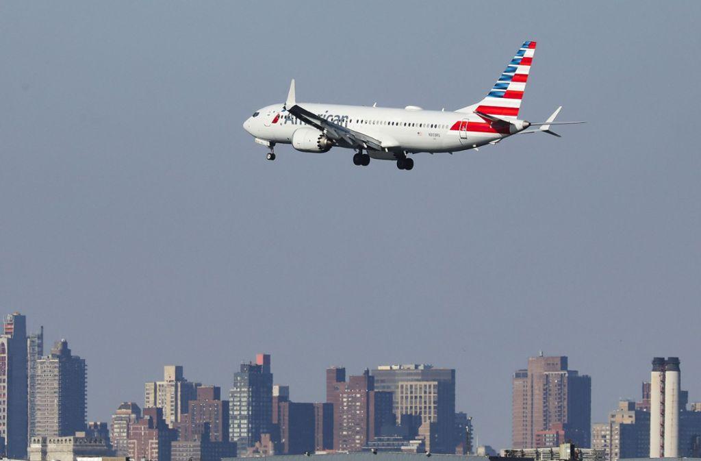 Eine Boeing 737 Max 8 beim Anflug auf New York. Foto: Getty