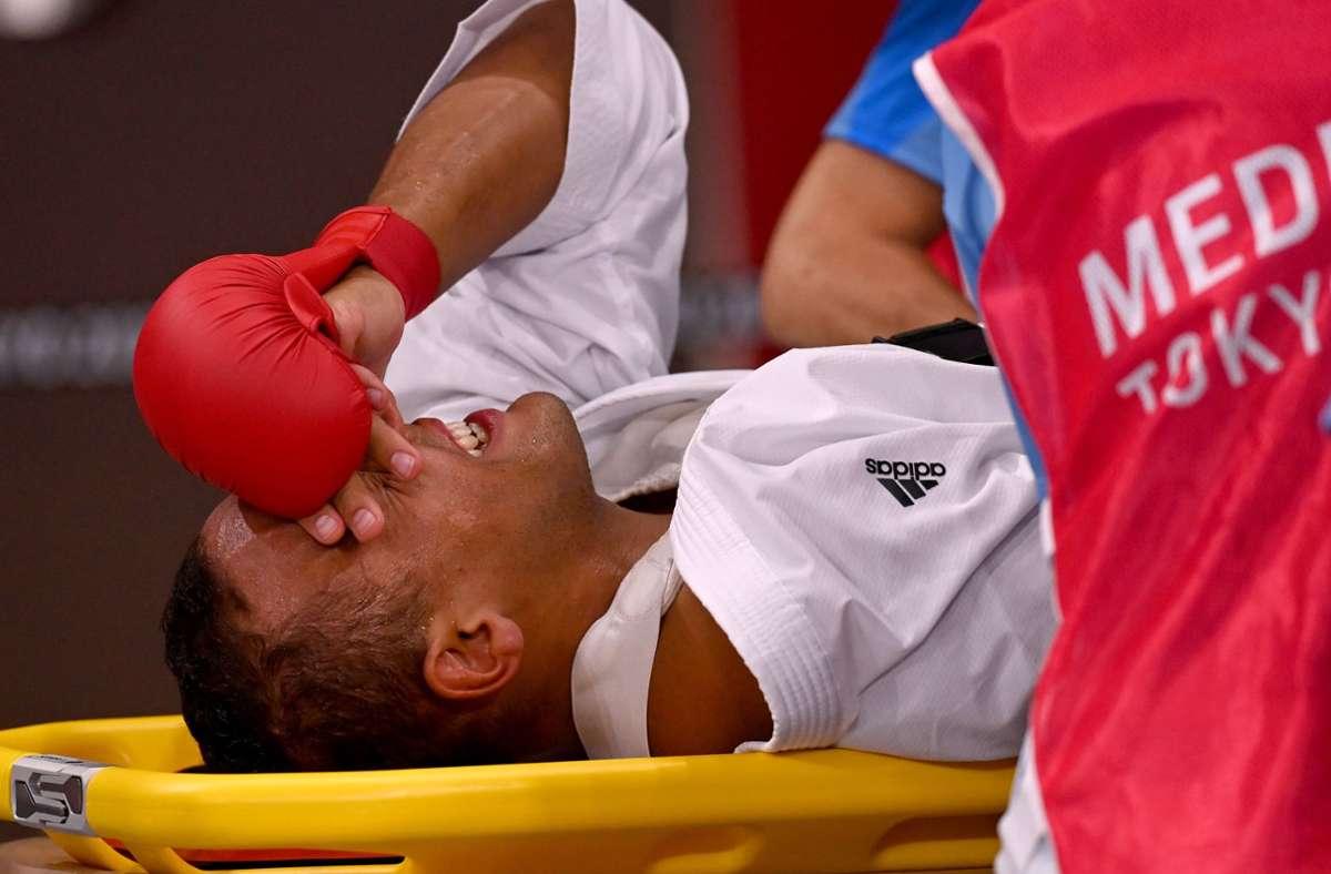 Karateka Jonathan Horne verletzte sich schwer am Ellenbogen. Foto: dpa/Marijan Murat