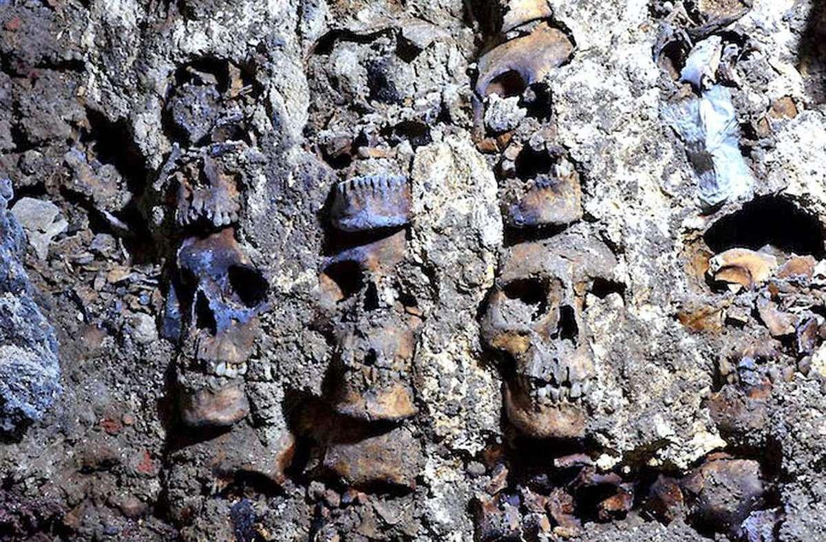 """Huei Tzompantli"": Die ""Wand der Schädel"" stammt vom Ende des 15. Jahrhunderts. Foto: APA/AFP/INAH"
