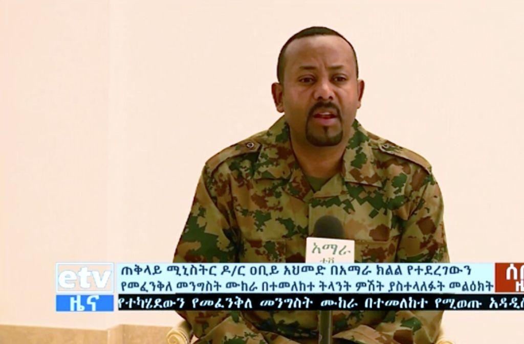 Auf diesem Standbild aus einem Video spricht Abiy Ahmed über den Putschversuch. Foto: dpa Foto: