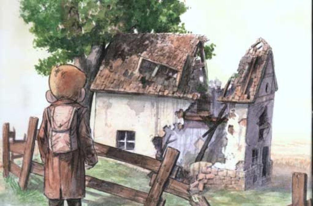 """Der kleine Held des Bildbands """"Jakob"""" kehrt auf seiner Suche nach Hause zurück, findet aber nur Trümmer, Reste und Scherben. Foto: Abbildung: Verlag"""