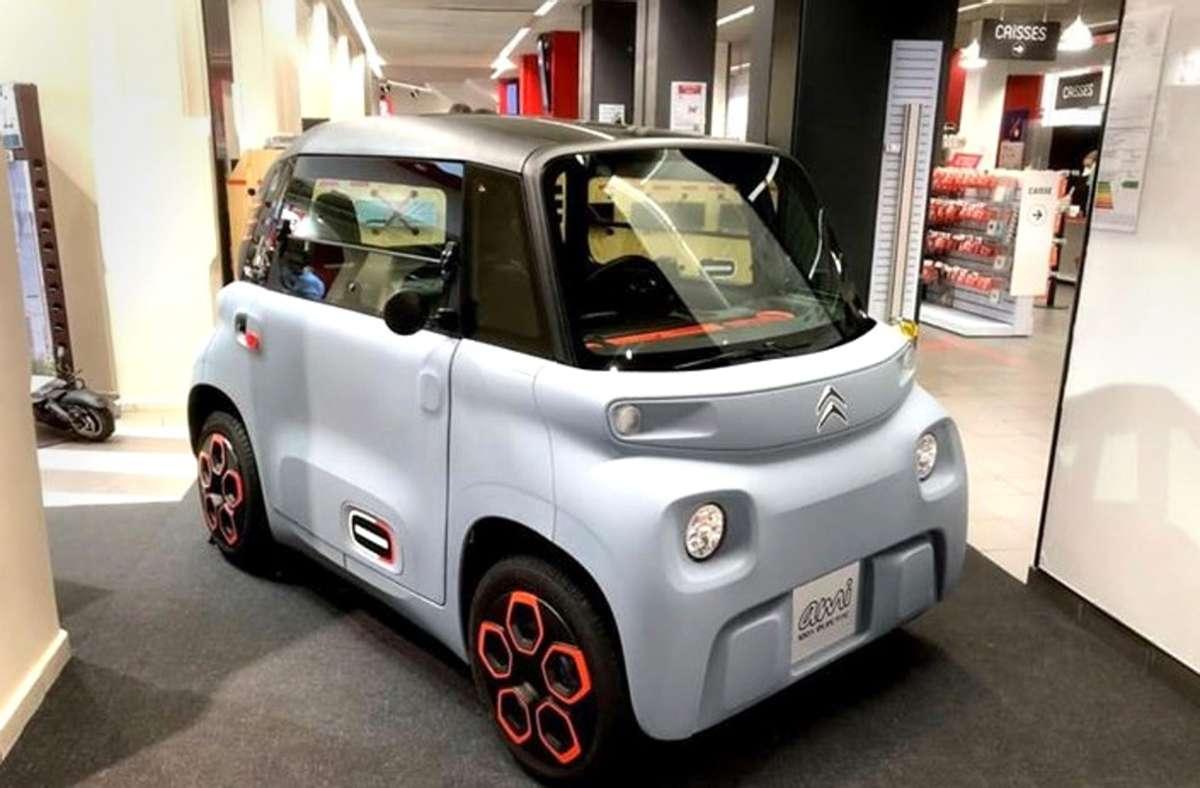 Mit dem Citroën Ami will der Konzern PSA ein Mobilitätskonzept für Großstädte anbieten. Der Kleinstwagen läuft mit Batterie und hat eine Karosserie aus Kunststoff. Foto: Krohn/Krohn