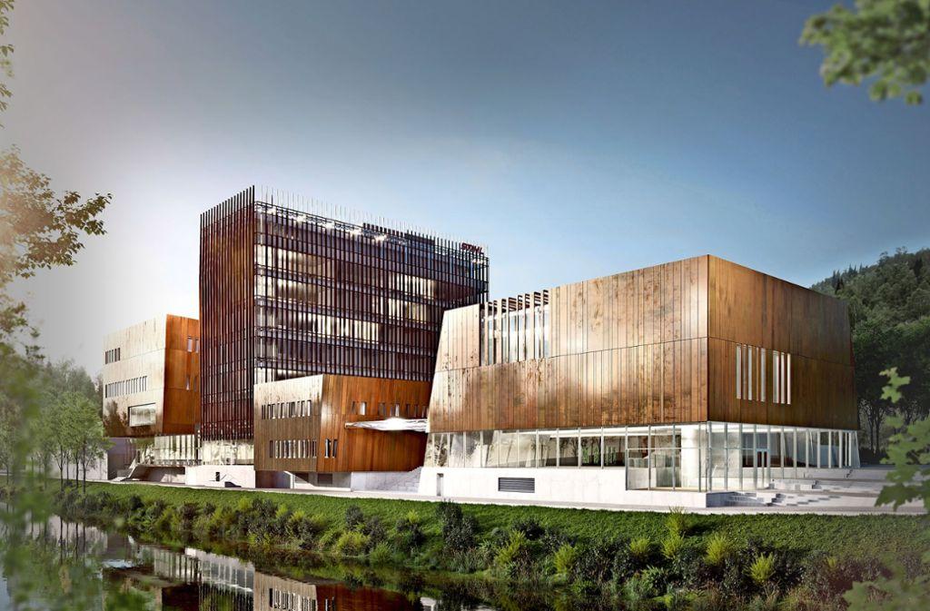 Neben dem grundsanierten Bürohochhaus soll am Remsufer die Stihl-Markenwelt entstehen. Foto: BFK Architekten Stuttgart