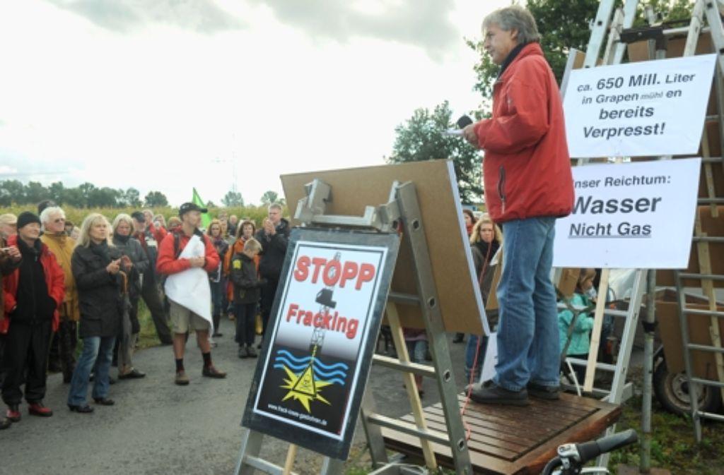 Eine Demonstration gegen Fracking in Niedersachsen Foto: dpa