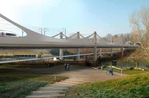 Die Visualisierung zeigt die geplante Brücke von der Cannstatter Neckarseite aus. Gut zu erkennen: Der unter der Eisenbahnbrücke verlaufende Geh- und Radweg. Foto: bgp design