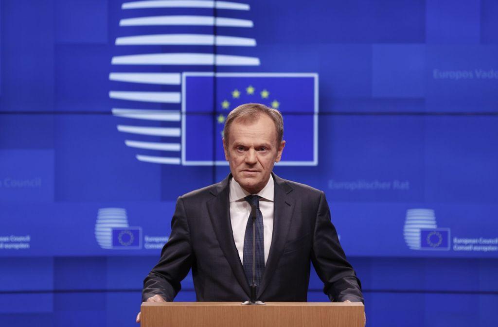 EU-Ratschef Donald Tusk schließt eine Verschiebung des Brexits nicht aus. Foto: AP