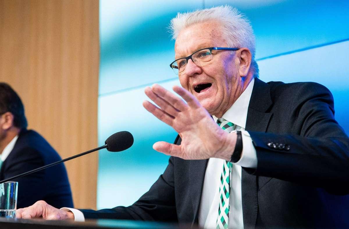Winfried Kretschmann bei der Regierungspressekonferenz. Foto: 7aktuell.de/Marc Gruber/7aktuell.de | Marc Gruber