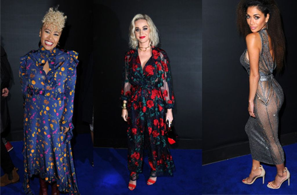 Die Sängerinnen Emeli Sandé, Katy Perry und Nicole Scherzinger (v.l.n.r.) bei der Party nach den Brit Awards in London. Foto: Getty Images/Montage