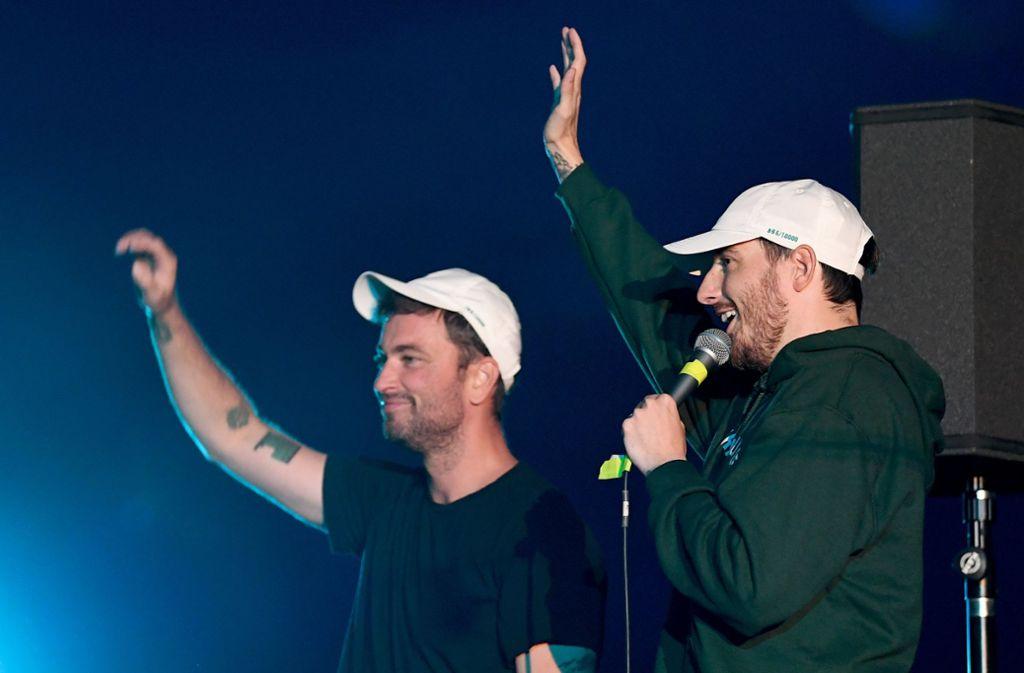 Marteira (links) und Casper stellen ihr gemeinsames Album vor. Foto: dpa