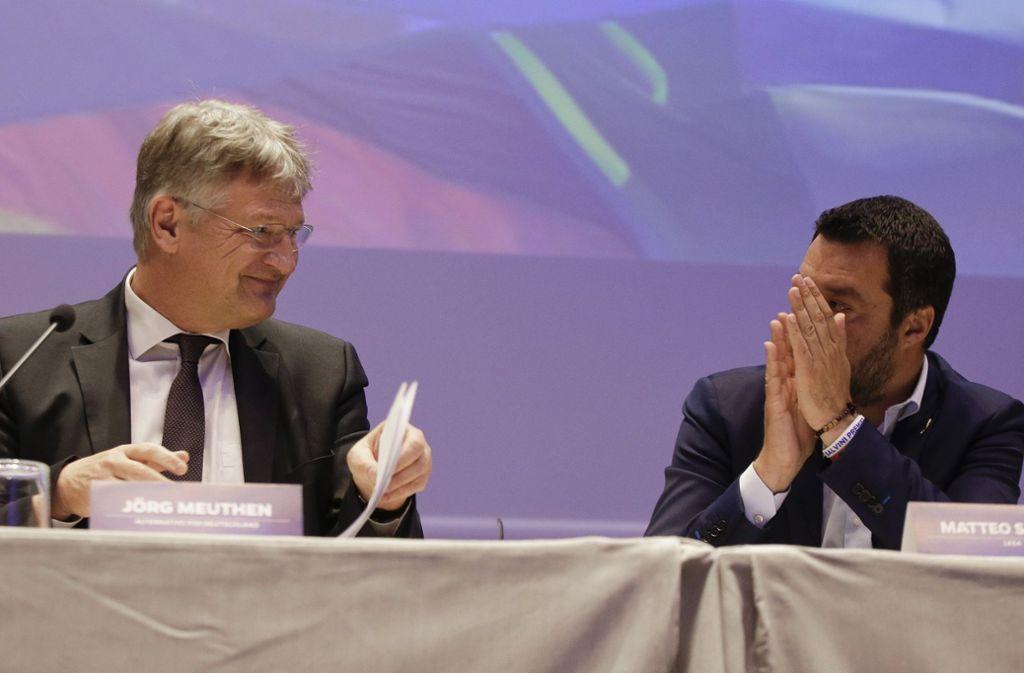Freut sich über Applaus von Italiens Innenminister Matteo Salvini: AfD-Chef Jörg Meuthen (links). Foto: AP