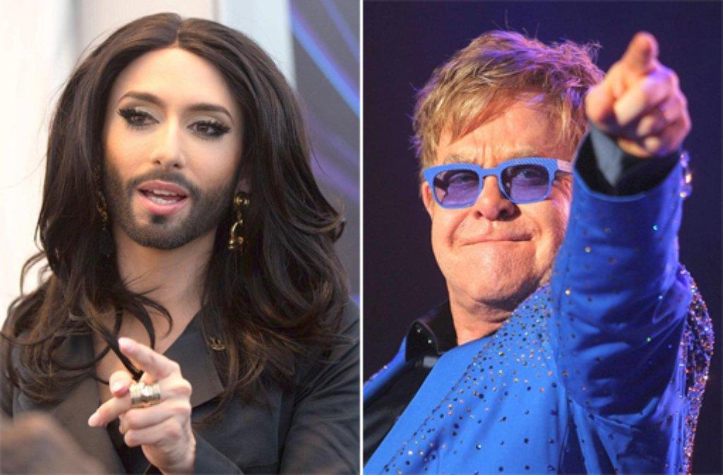 Superstar Elton John (rechts) hat der ESC-Gewinnerin Conchita Wurst (links) Blumen geschickt. Foto: dpa/SIR-Montage