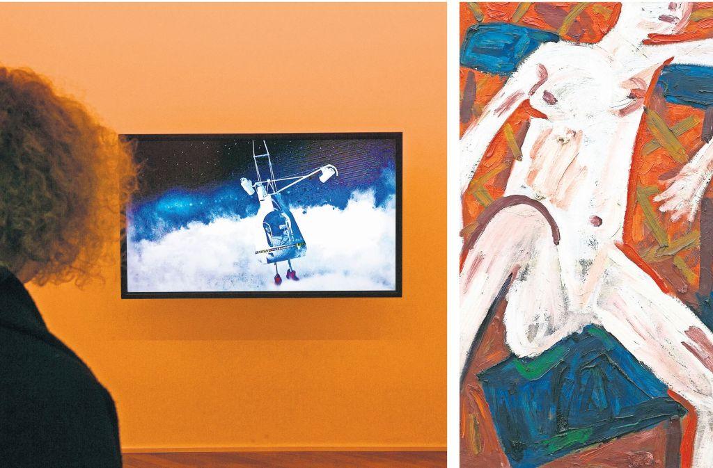 """Kapitalismus- und fortschrittskritisch ist das Video von Maximilian Schmoetzer (links), das in der Ausstellung """"Stories in Your Mind"""" im Obergeschoss gezeigt wird. Im EG locken Werke von Allan Kaprow (re.) Foto: Fotos:Horst Rudel"""