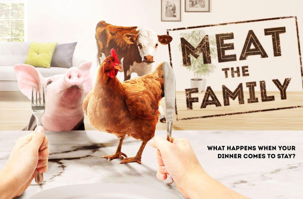 """Werbung für die britische Show """"Meat the Family"""". Was passiert, wenn das Essen zuvor Familienmitglied ist? Foto: Channel 4"""