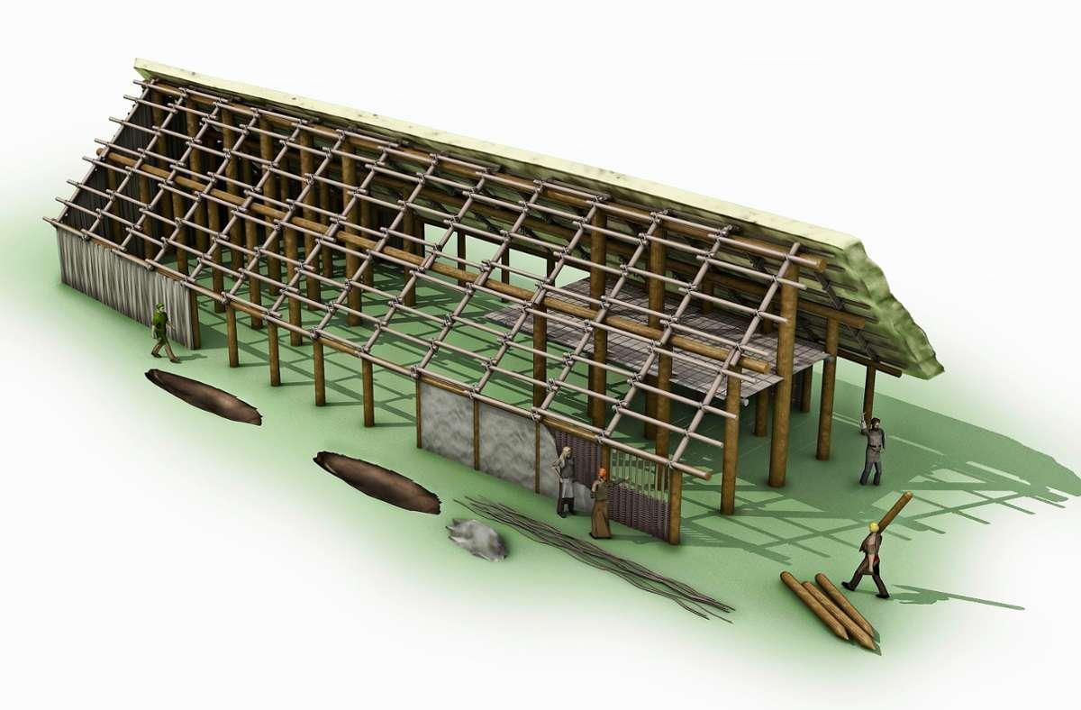 So sollen die ersten Häuser ausgesehen haben, die  vor etwa 7000 Jahren in Leinfelden gebaut wurden. Foto: Landesamt für Denkmalpflege (z)