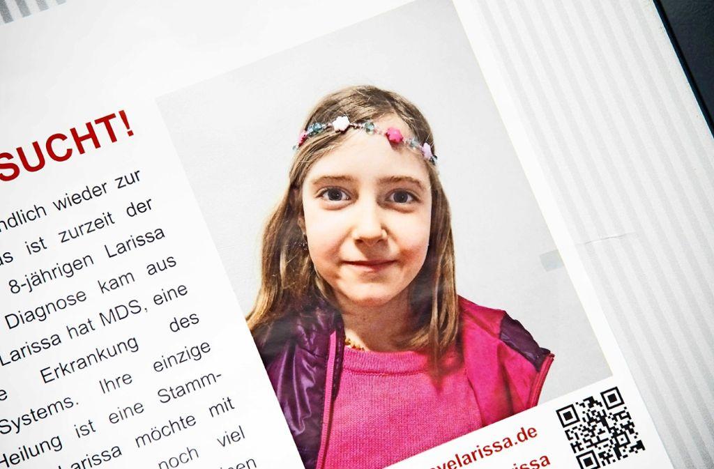 Der Aufruf zur Suche eines Stammzellenspenders für Larissa Foto: SDMG