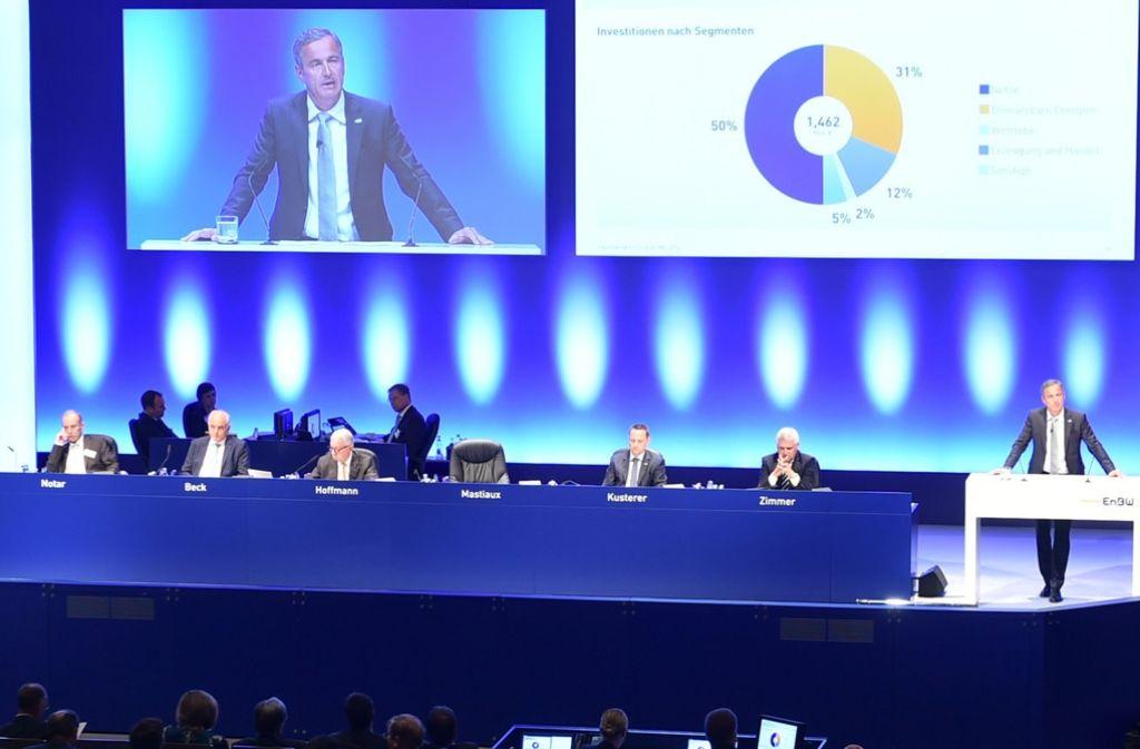 Führungsmannschaft der EnBW auf der Hauptversammlung 2016 in Karlsruhe. Im Vorstand ist keine Frau. Foto: dpa