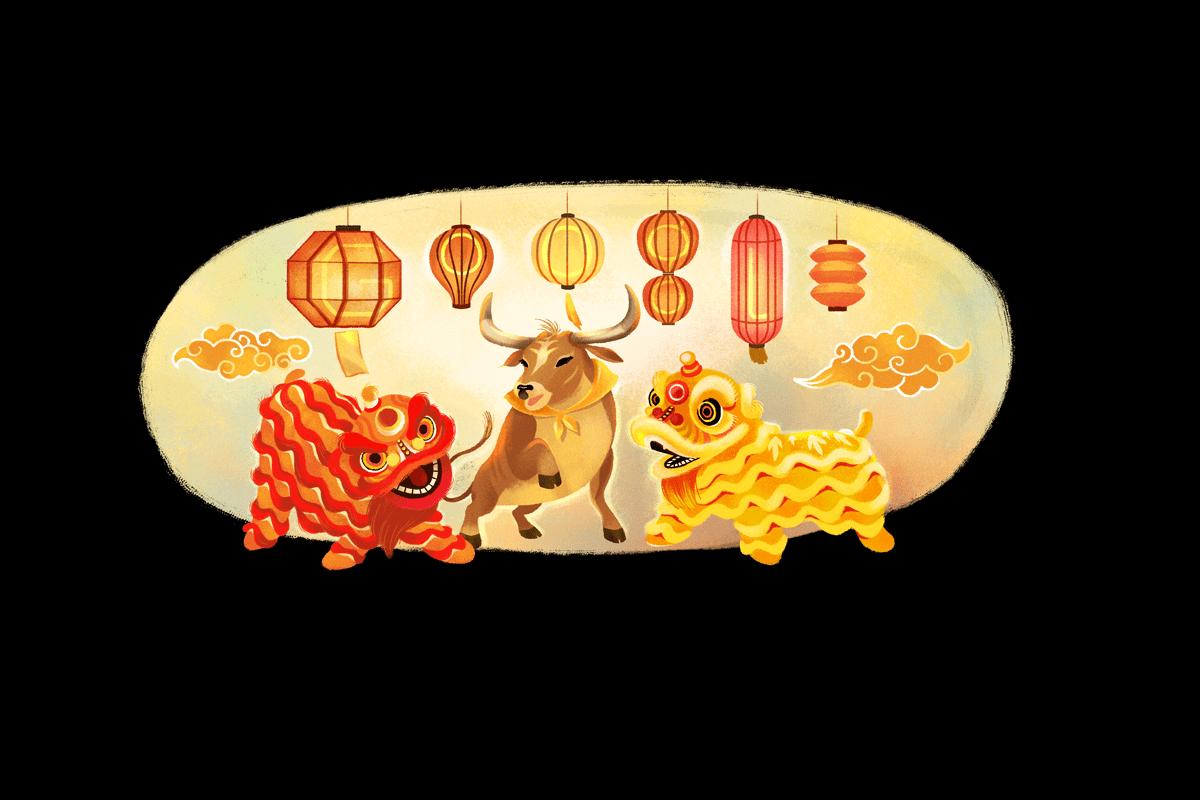 Google-Doodle zum Chinesischen Neujahr 2021 Foto: https://www.google.com/doodles/lunar-new-year-2021-multiple-countries