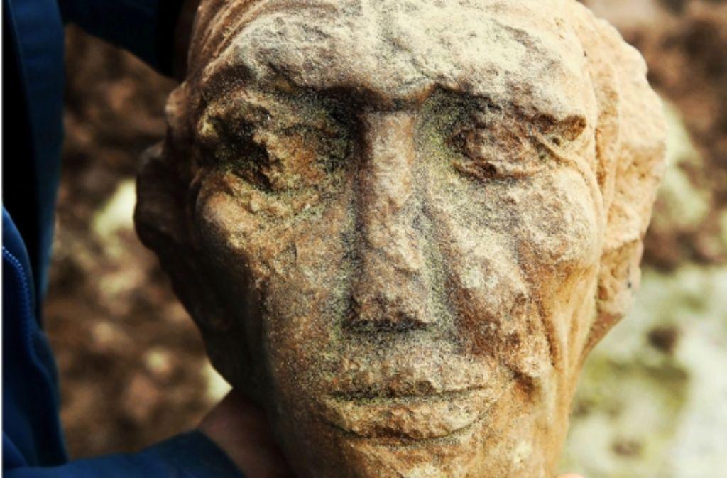 Der ausgegrabene Sandsteinkopf mit seiner charakteristischen Stirnpartie.Foto:Zweygarth Foto: