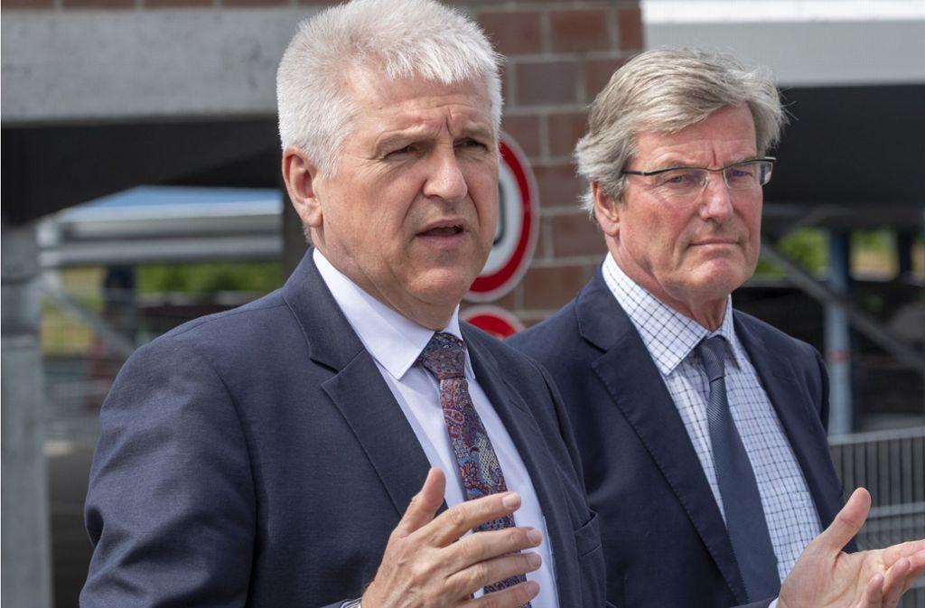 Gerd Maisch (links), bisher OB in Vaihingen an der Enz, kandidiert für den Posten des Ludwigsburger Landrats. Foto: factum/