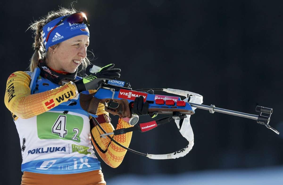 Franziska Preuß hat sich in der Weltspitze etabliert – und könnte die Saison mit Platz drei im Gesamtweltcup abschließen. Doch das wird schwierig. Foto: imago/Kalle Parkkinen