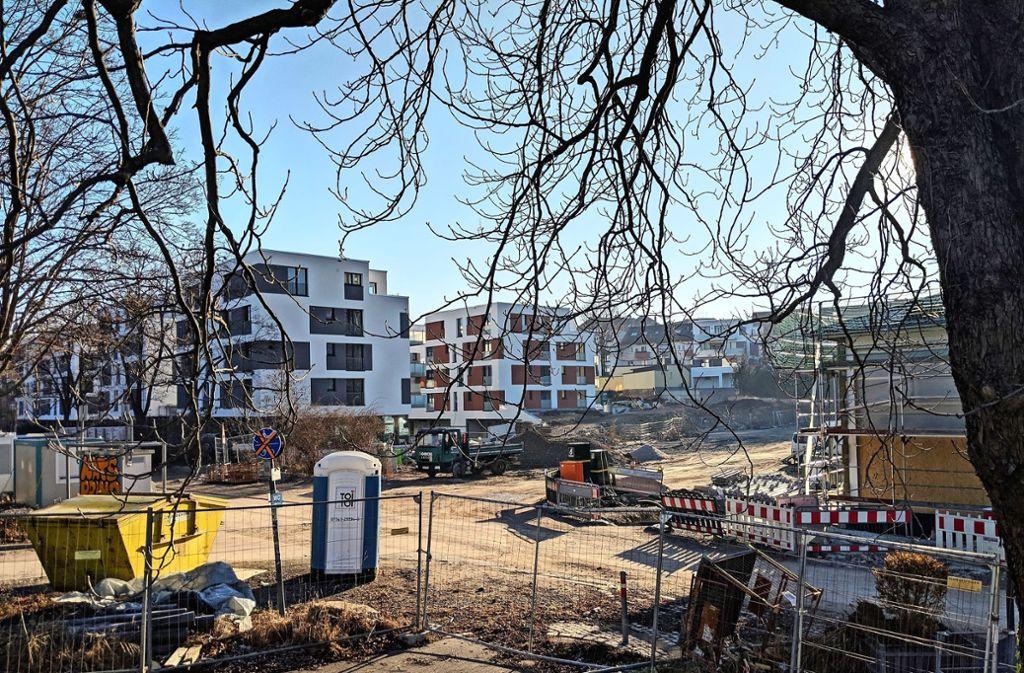Der Gesundheitscampus soll zwischen den neuen Wohnhäusern (links) und dem Mineralbad Berg (rechts, eingerüstet) entstehen. Foto: Jürgen Brand