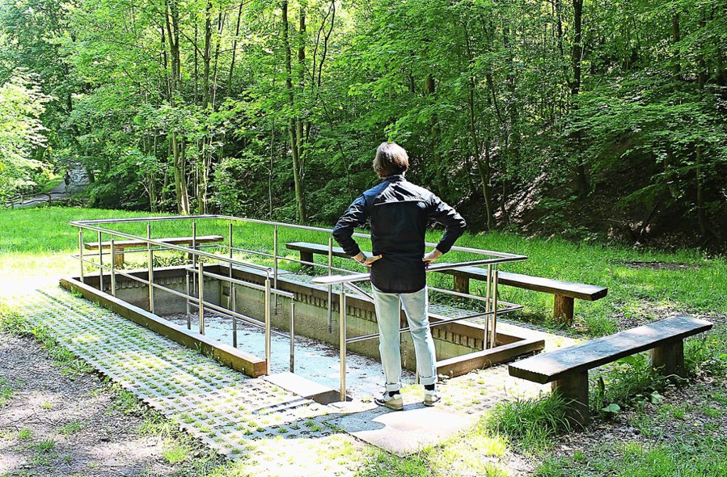 Aufs Wassertreten im Storch-Schritt müssen Kneipp-Freund im Becken im Tiefenbachtal noch  verzichten. Foto: Caroline Holowiecki