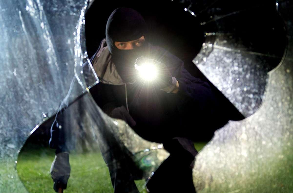 Die Einbrecher schlugen eine Scheibe der Schule ein. (Symbolbild) Foto: dpa/Daniel Maurer