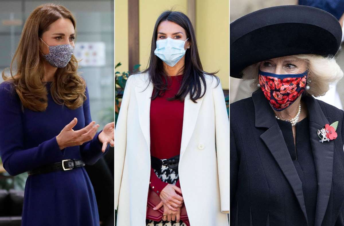 Herzogin Kate, Königin Letizia und Herzogin Camilla (von links) setzen alle unterschiedliche Akzente bei ihren Masken. Foto: Imago