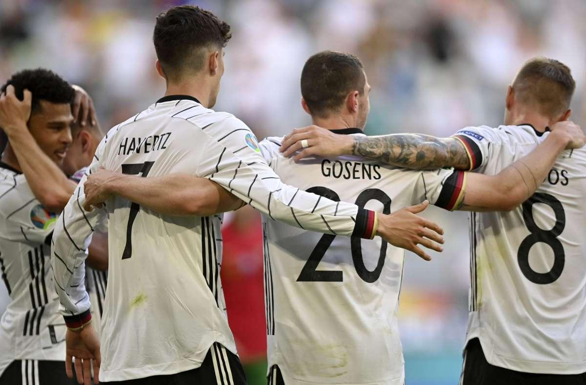 Die deutschen Fußballer wollen zwar ihr letztes EM-Gruppenspiel gegen Ungarn gewinnen, sie müssen aber nicht. Foto: dpa/Philipp Guelland