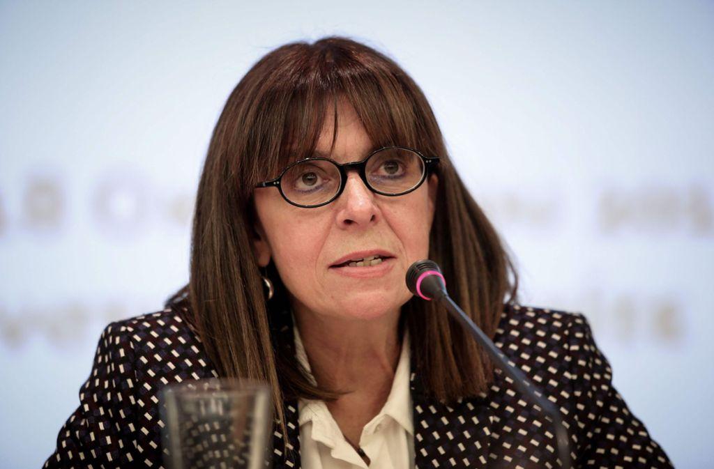 Ekaterini Sakellaropoulou wurde in Griechenland  zum Staatsoberhaupt gewählt. Foto: AFP/VASSILIS REMPAPIS