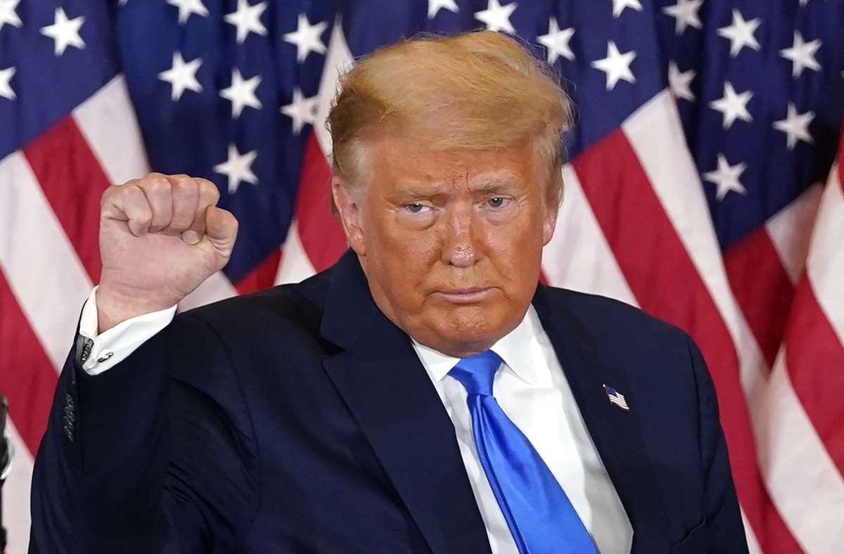 Donald Trump lobte seine Amtszeit noch einmal ausführlich. Foto: dpa/Evan Vucci