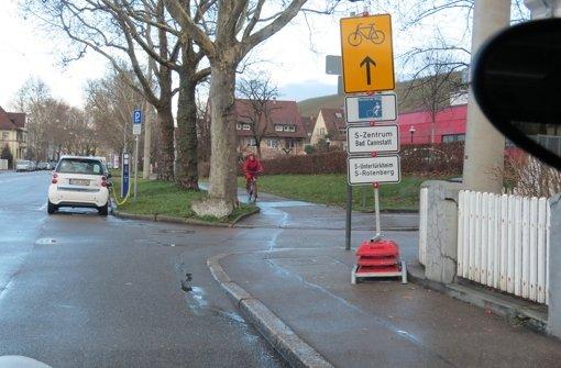 Für die Nutzer des Schiller-Radwegs ist eine Umleitung eingerichtet. Foto: Caroline Leibfritz
