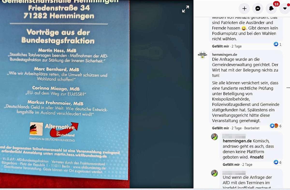 Auf Facebook geht es zu der angekündigten AfD-Veranstaltung heiß her. Screenshot: StZ