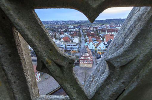Blick vom Kirchturm auf die Stadtgeschichte