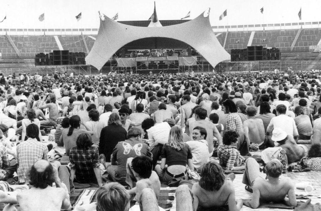 Es war das erste Rockkonzert in der Stadiongeschichte: Im Juni 1976 spielten die Rolling Stones vor 42 000 Fans in Stuttgart. Foto: Uli Kraufmann