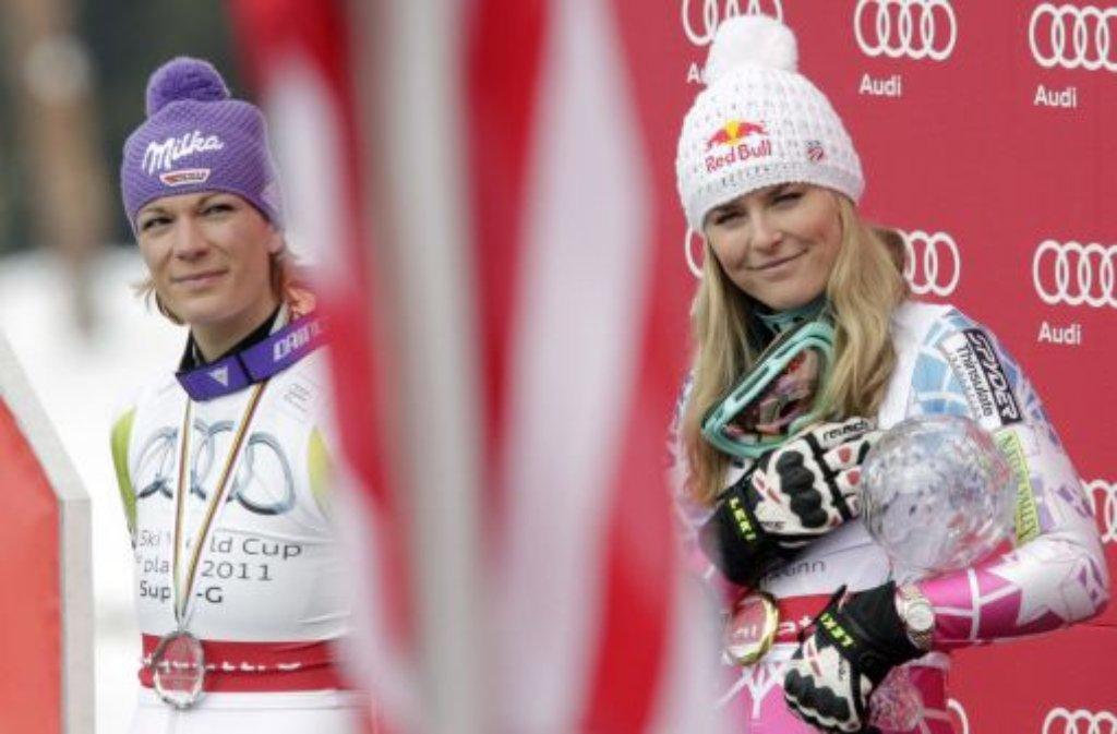 Eigentlich waren Maria Riesch (links) und Lindsey Vonn nicht nur Konkurrentinnen, sondern vor allem Freundinnen. Foto: dpa